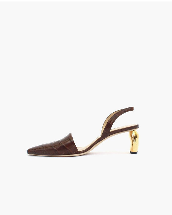 Conie Slingbacks Heels Croc Brown + Gold Heel