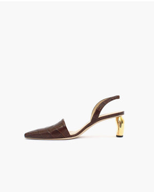 Conie Slingbacks Heels Leather Croc Brown