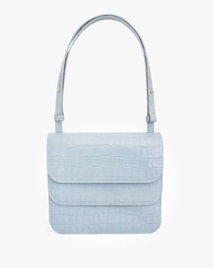 Ana Bag Leather Croc Duck Egg Blue