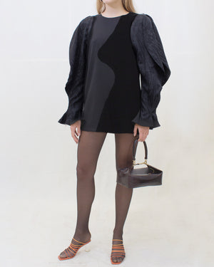 Cynthia Dress Silk Jacquard + Crepe + Velvet Black - SPECIAL PRICE