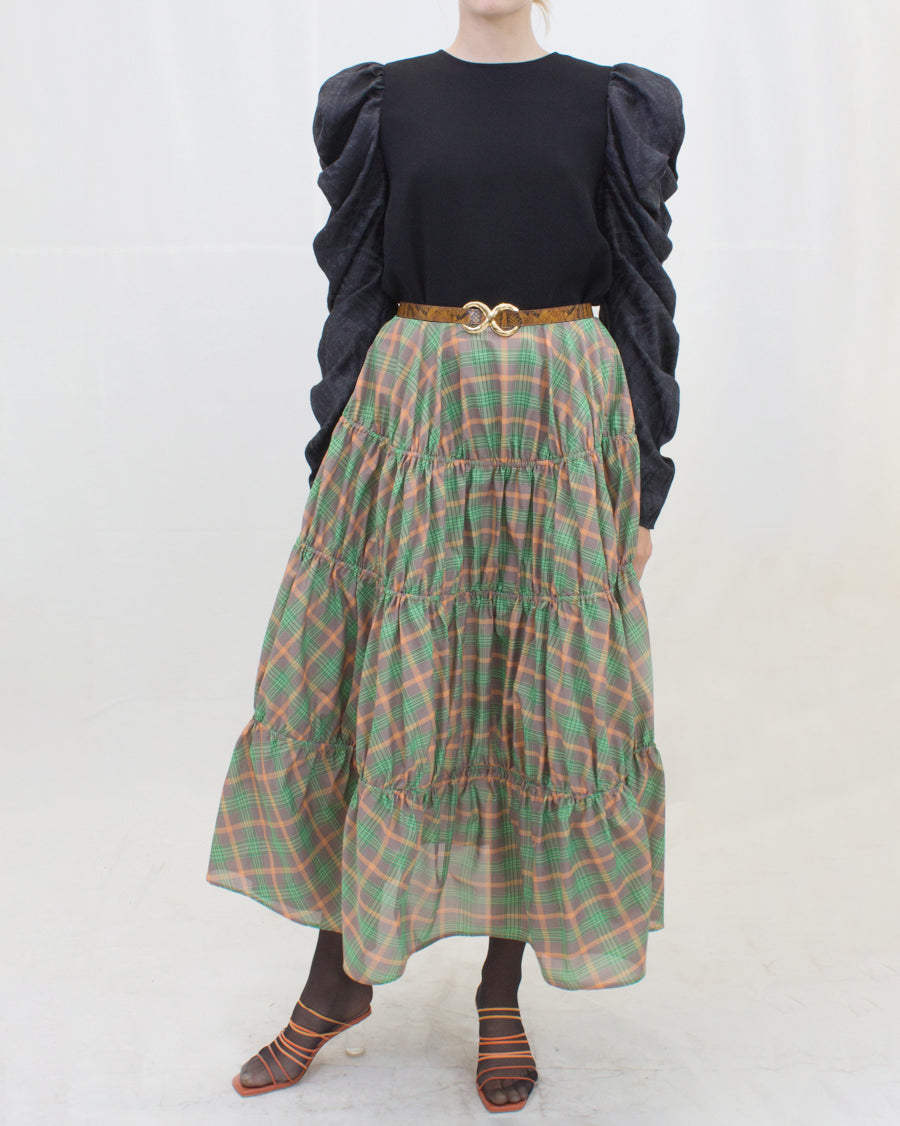 Eve Skirt Voile Check Orange + Green
