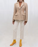 Edith Jacket Twill Check Camel + Orange + Green - SPECIAL PRICE