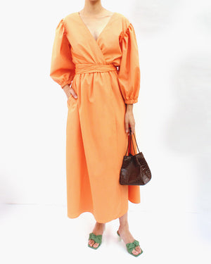 Miriam Cotton Orange Wrap Tie Dress