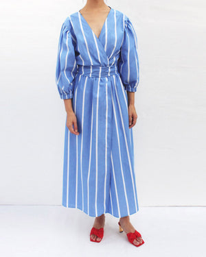Miriam Wrap Tie Dress Cotton Stripe Blue - SPECIAL PRICE