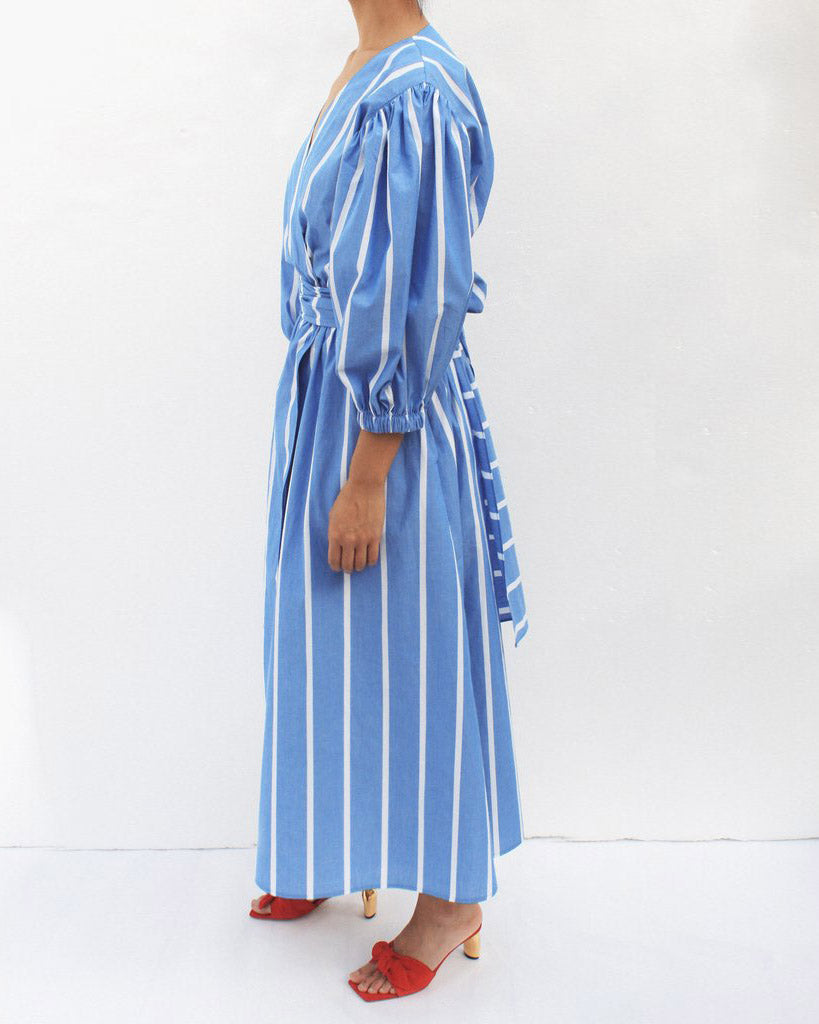 Miriam Wrap Tie Dress Cotton Blue Striped