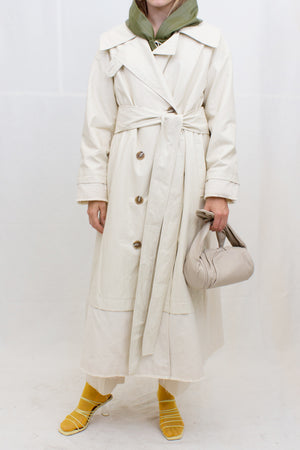 Gladys Trench Faux Leather Ivory + Italian Canvas Ecru - SPECIAL PRICE