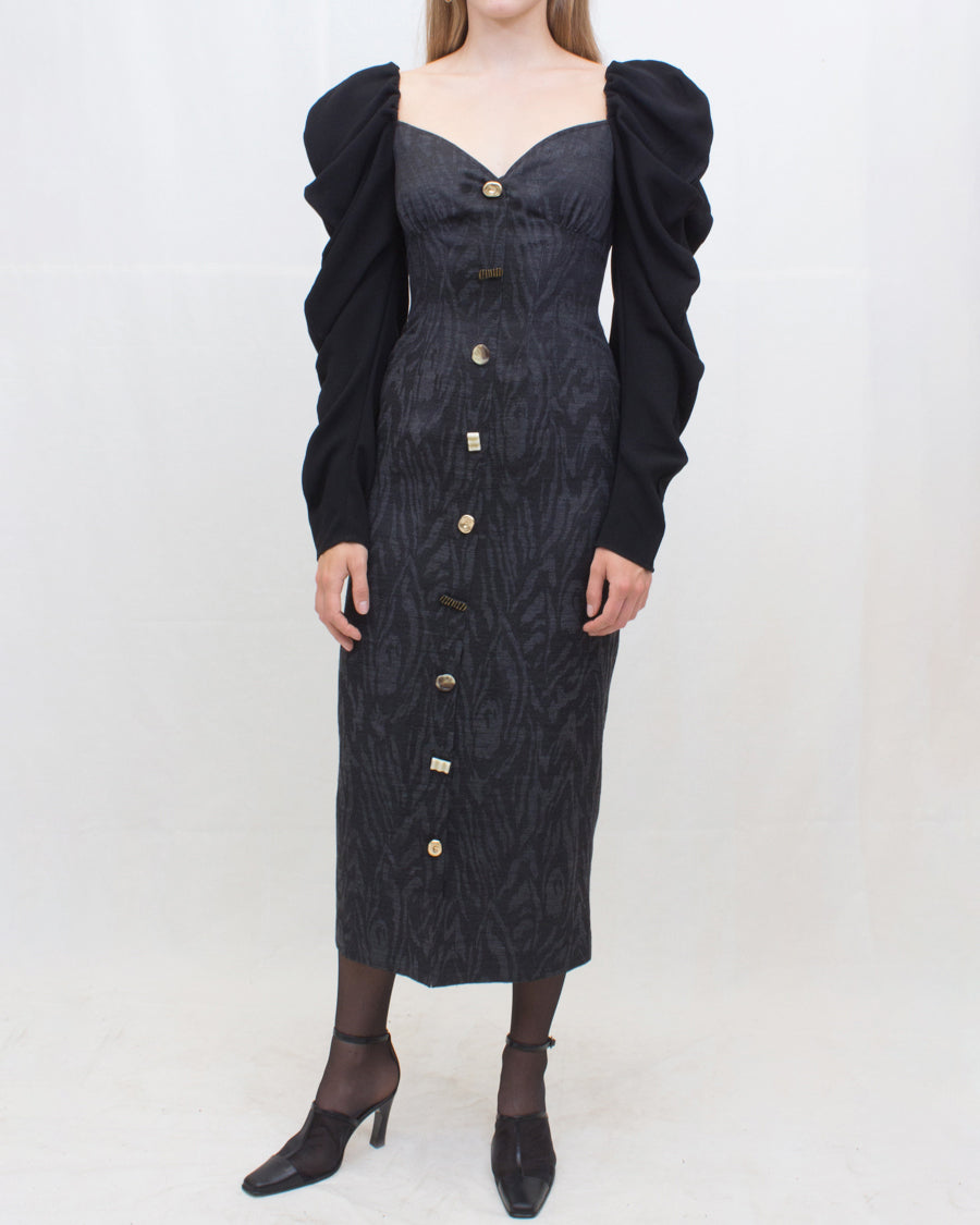 Betty Dress Silk Jacquard Black + Crepe Black