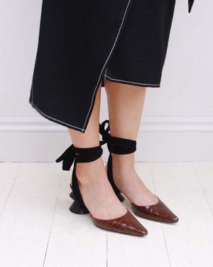 Barbara Leather Croc Brown with Dark Wood Heels