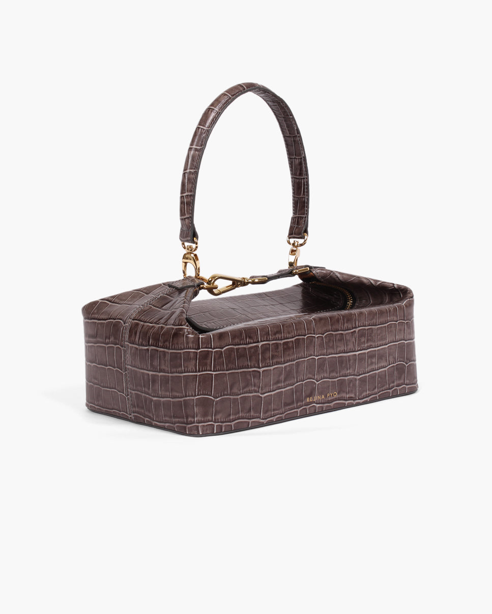 Olivia Box Bag Leather Emboss Croc Charcoal