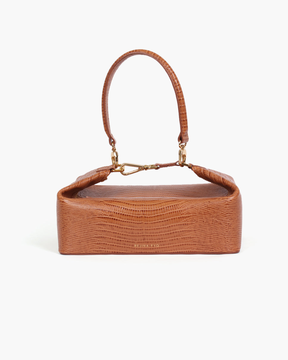 Olivia Box Bag Leather Emboss Lizard Tan