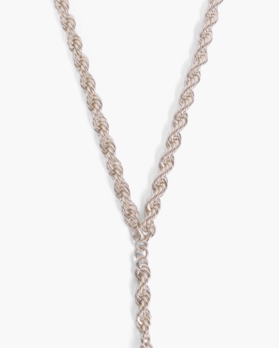 Knot Pendant with Thick Chain Silver Plated