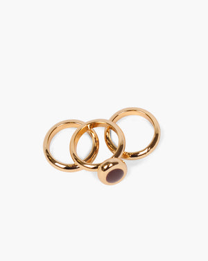 Oval Triple Ring Gold Plated with Burgundy Enamel