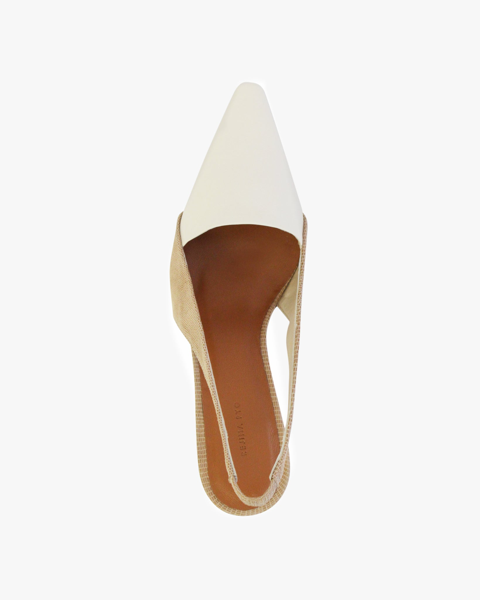 Taylor Slingback with White Wood Heel Leather Lizard White and Taupe