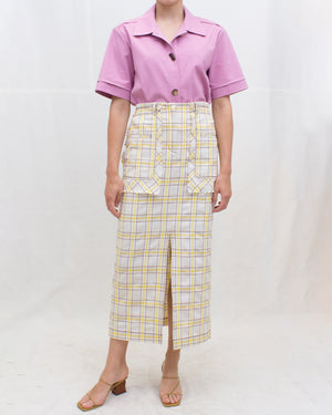 Ellie Skirt Cotton Blend Check Yellow + Brown