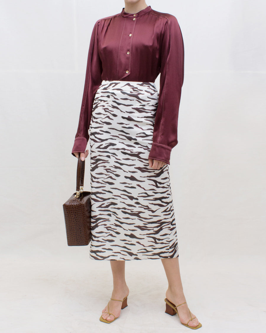 Mina Skirt Satin Print Tiger Ivory