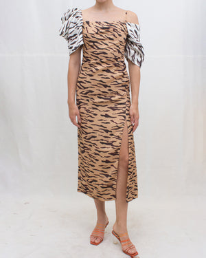 Amelia Dress Satin Print Tiger Beige + Ivory - SPECIAL PRICE
