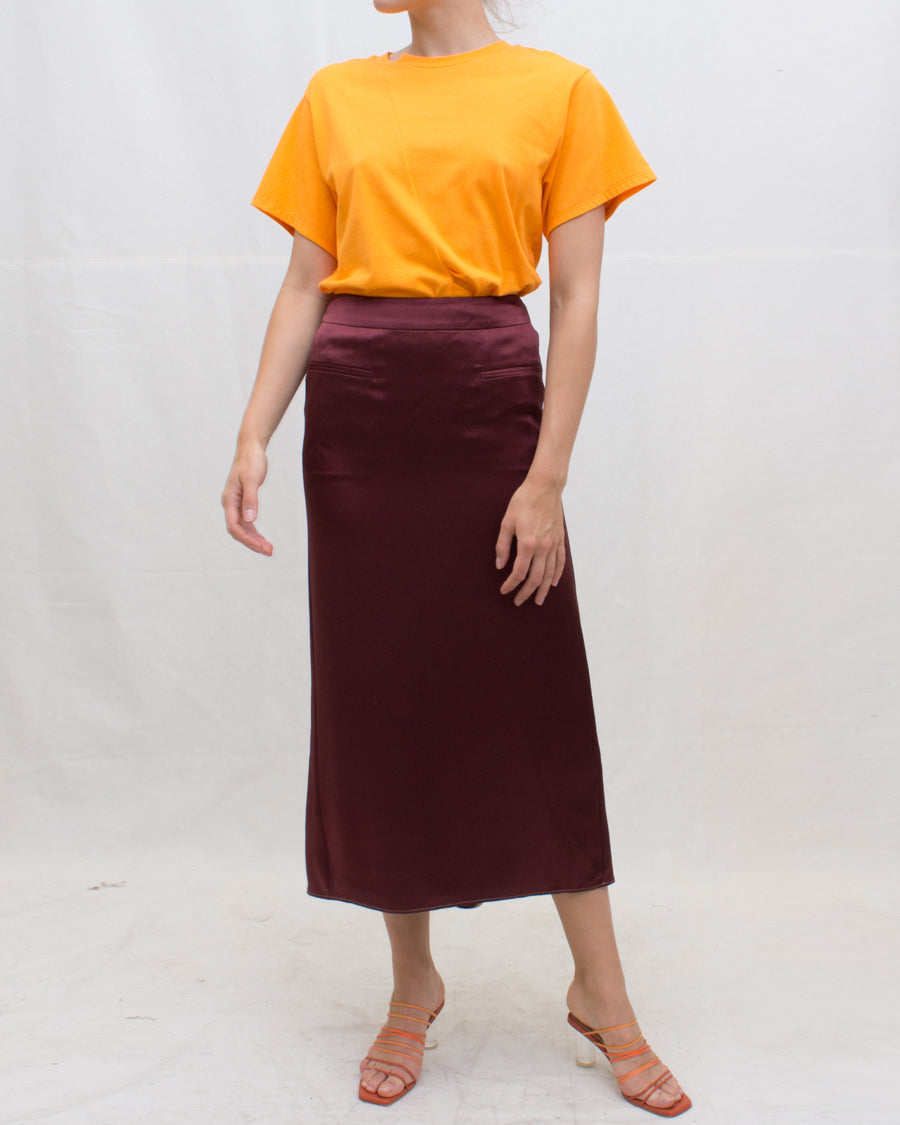 Mina Skirt Hammered Silk Burgundy