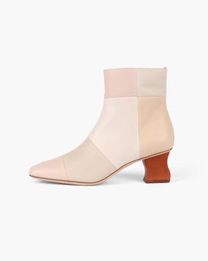 Yuki Boot Leather Cream Tonal Patchwork