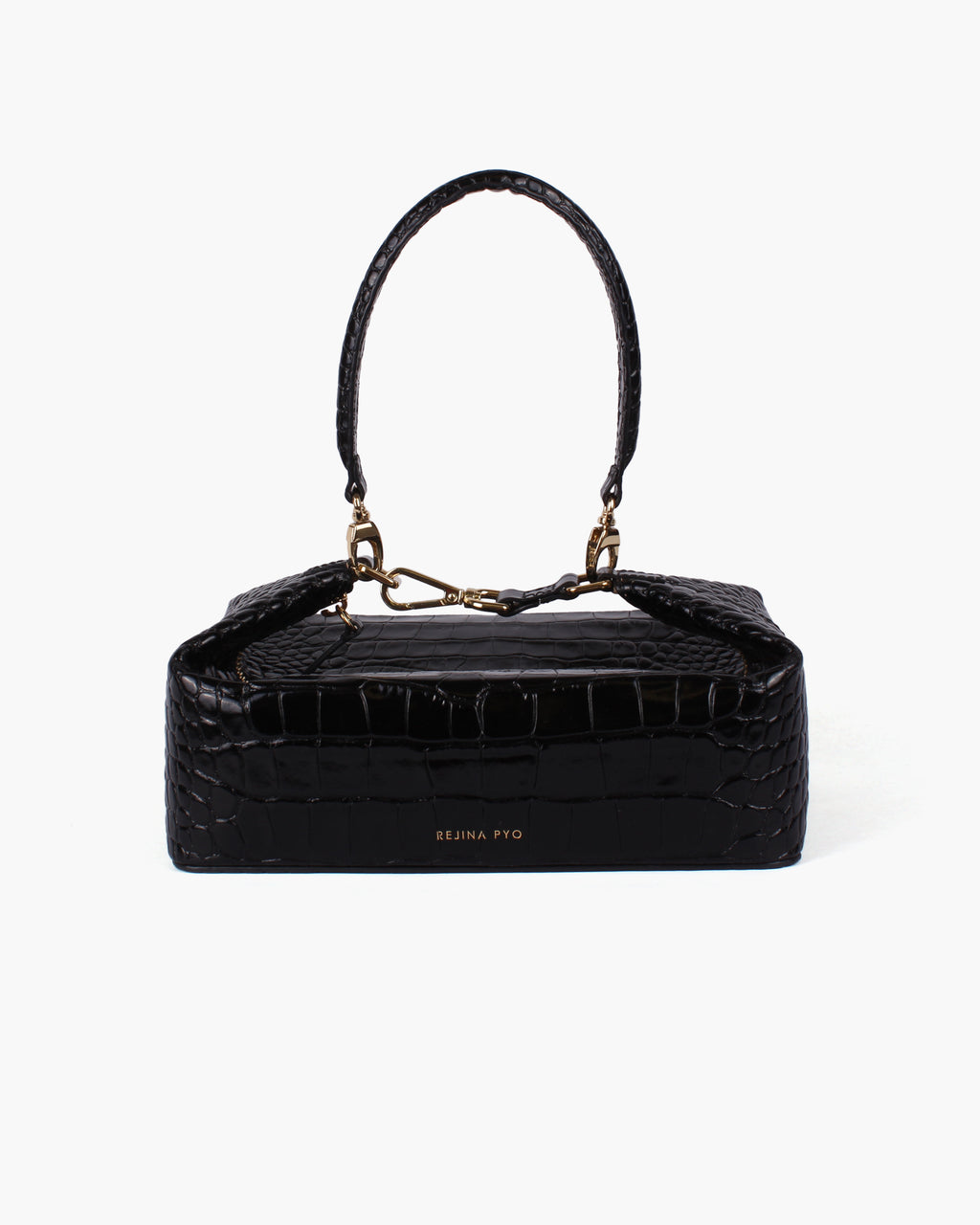 Olivia Box Bag Leather Croc Black