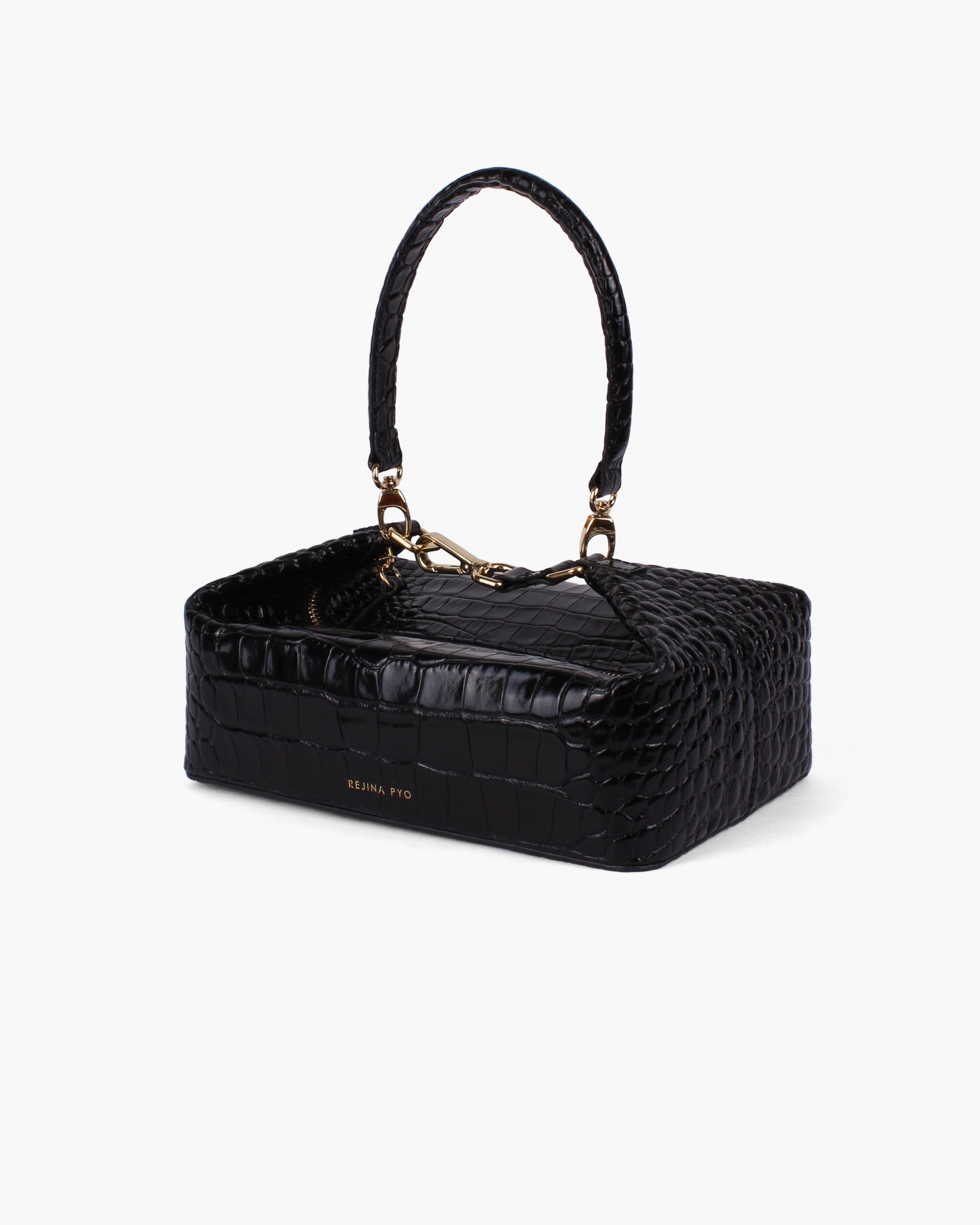 Olivia Bag Leather Croc Black