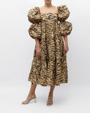 Nola Dress Cotton Print Tiger Beige