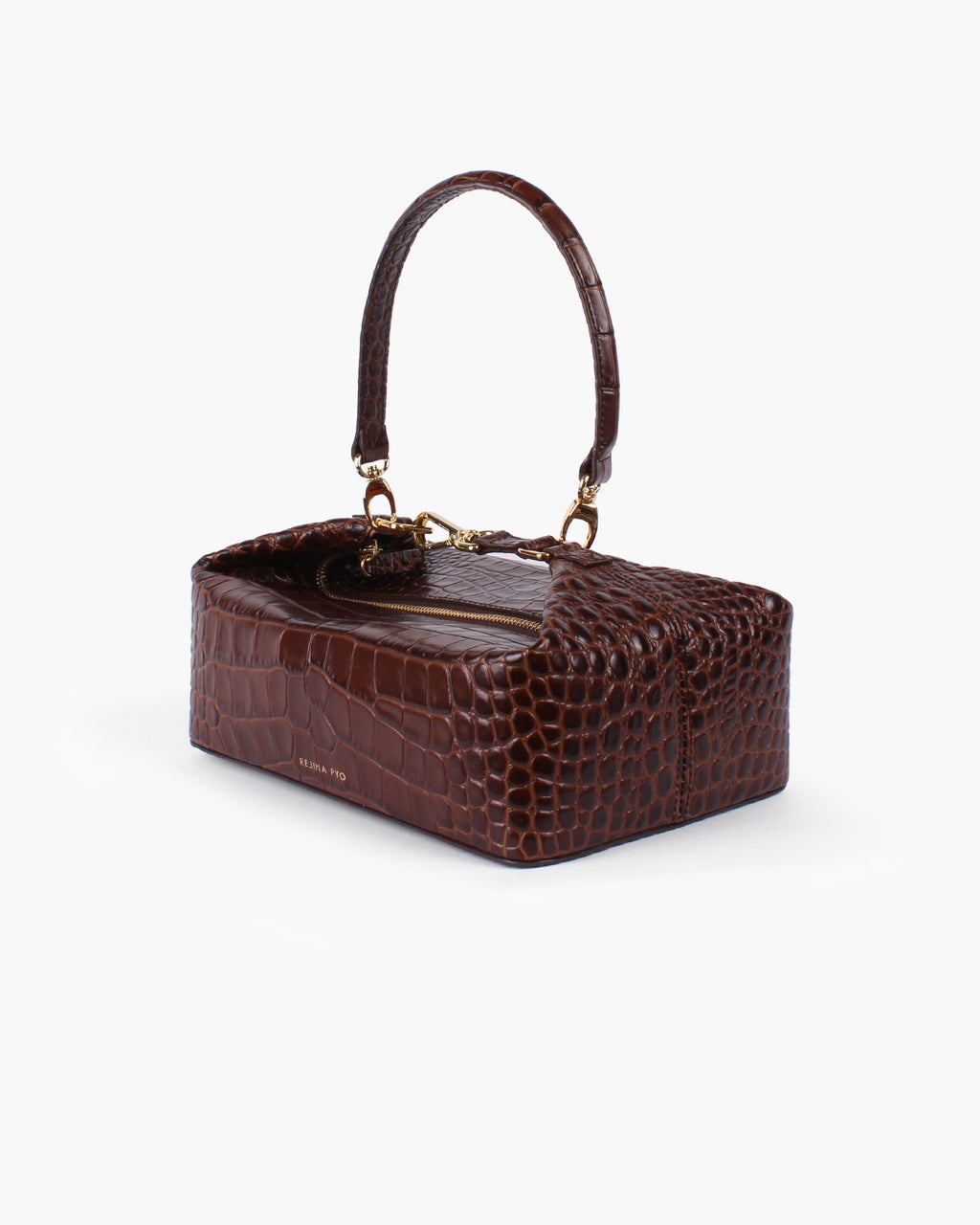 Olivia Box Bag Leather Croc Brown