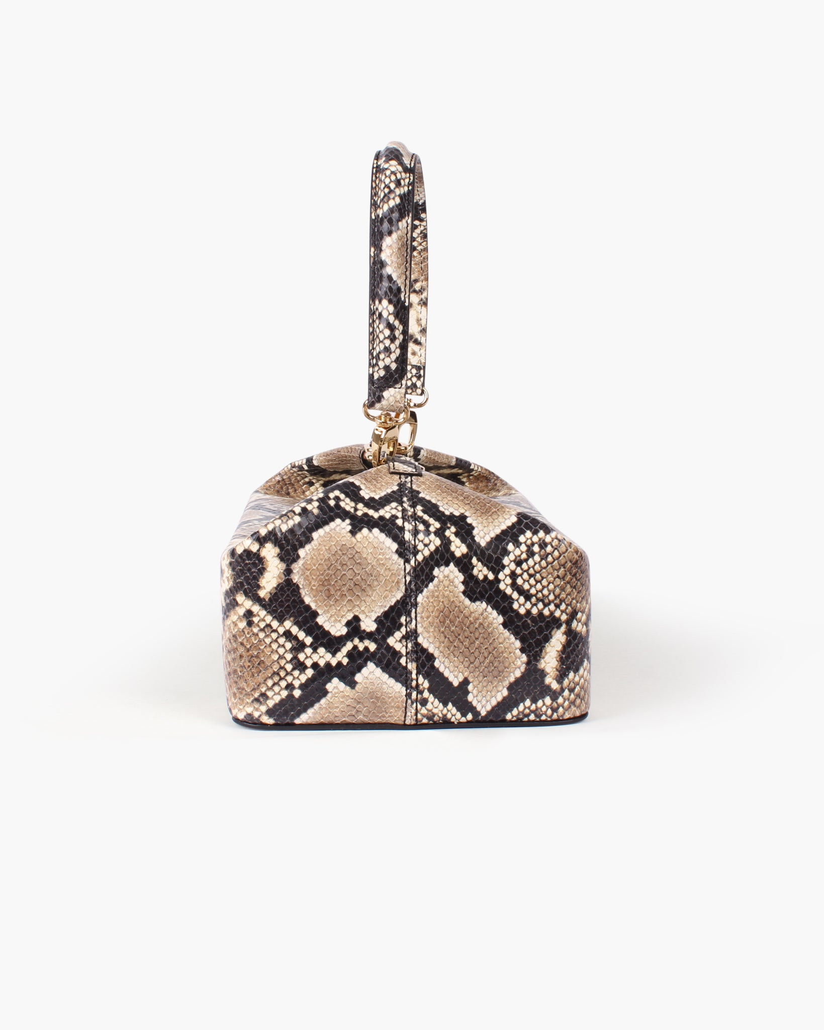 Olivia  Box Bag Leather Snake Beige