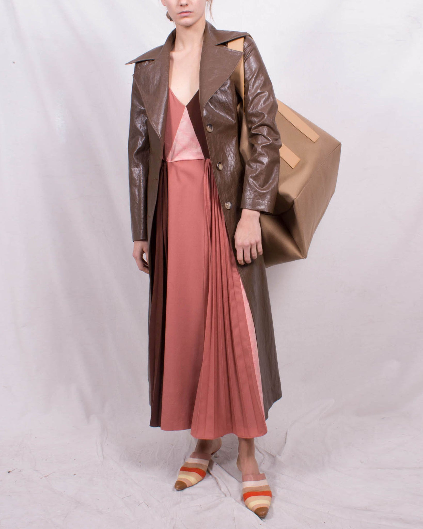 Rhea Trenchcoat Faux Leather Walnut Brown