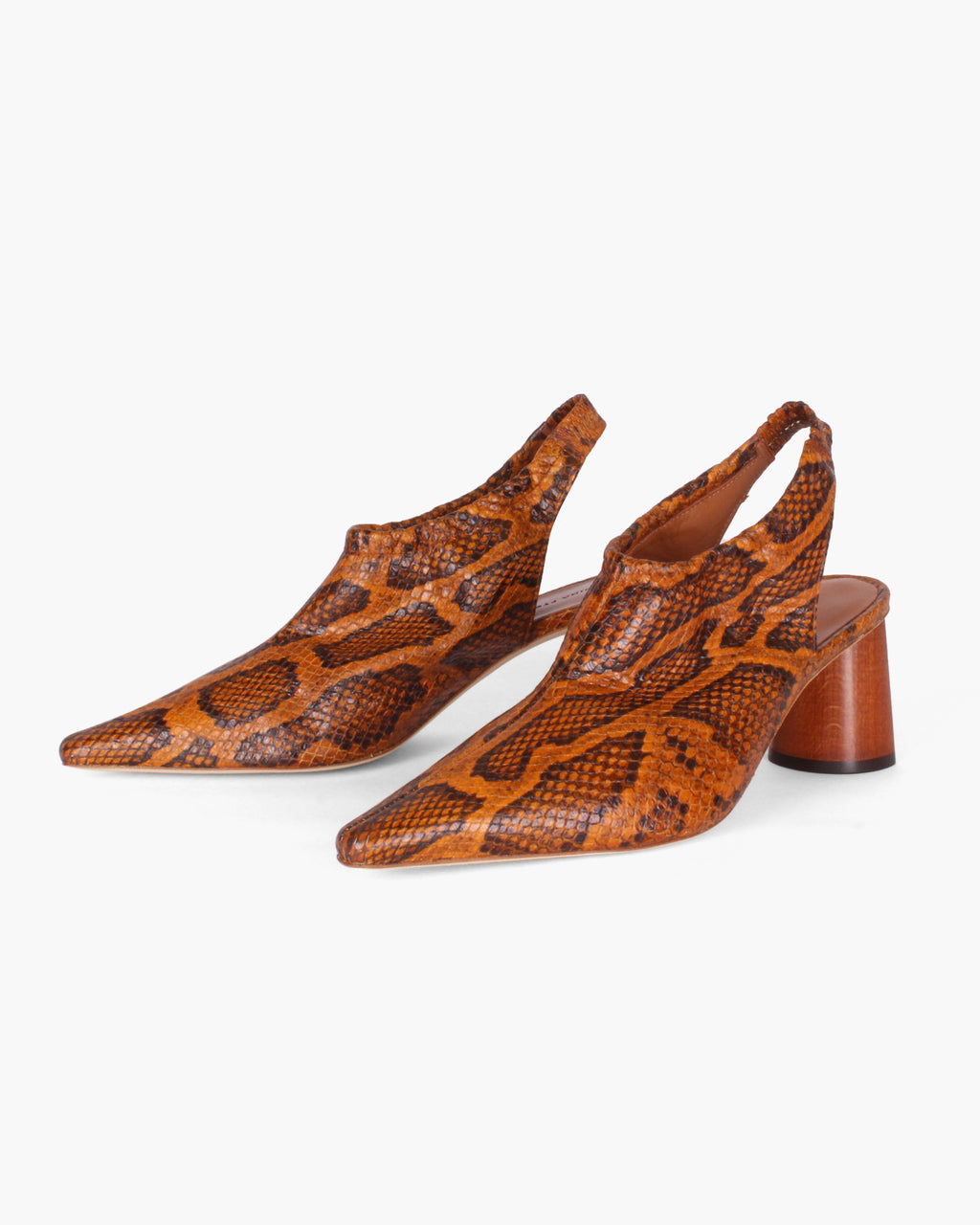 Riley Slingback Leather Python-Effect Orange