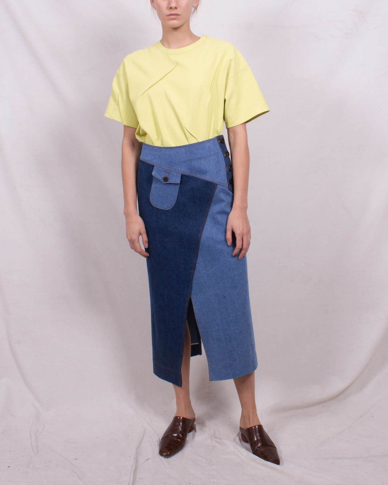 Astrid Skirt Cotton Denim Tonal Blue Mix