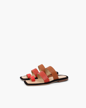 Larissa Sandals Leather Trio Rosso