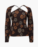 Eliza Top Knit Jacquard Flower Mocha Orange