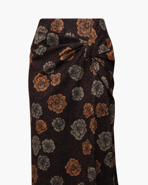 Iris Skirt Knit Jacquard Flower Mocha Orange