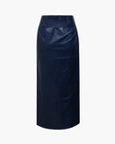 Mia Skirt Faux Leather Navy