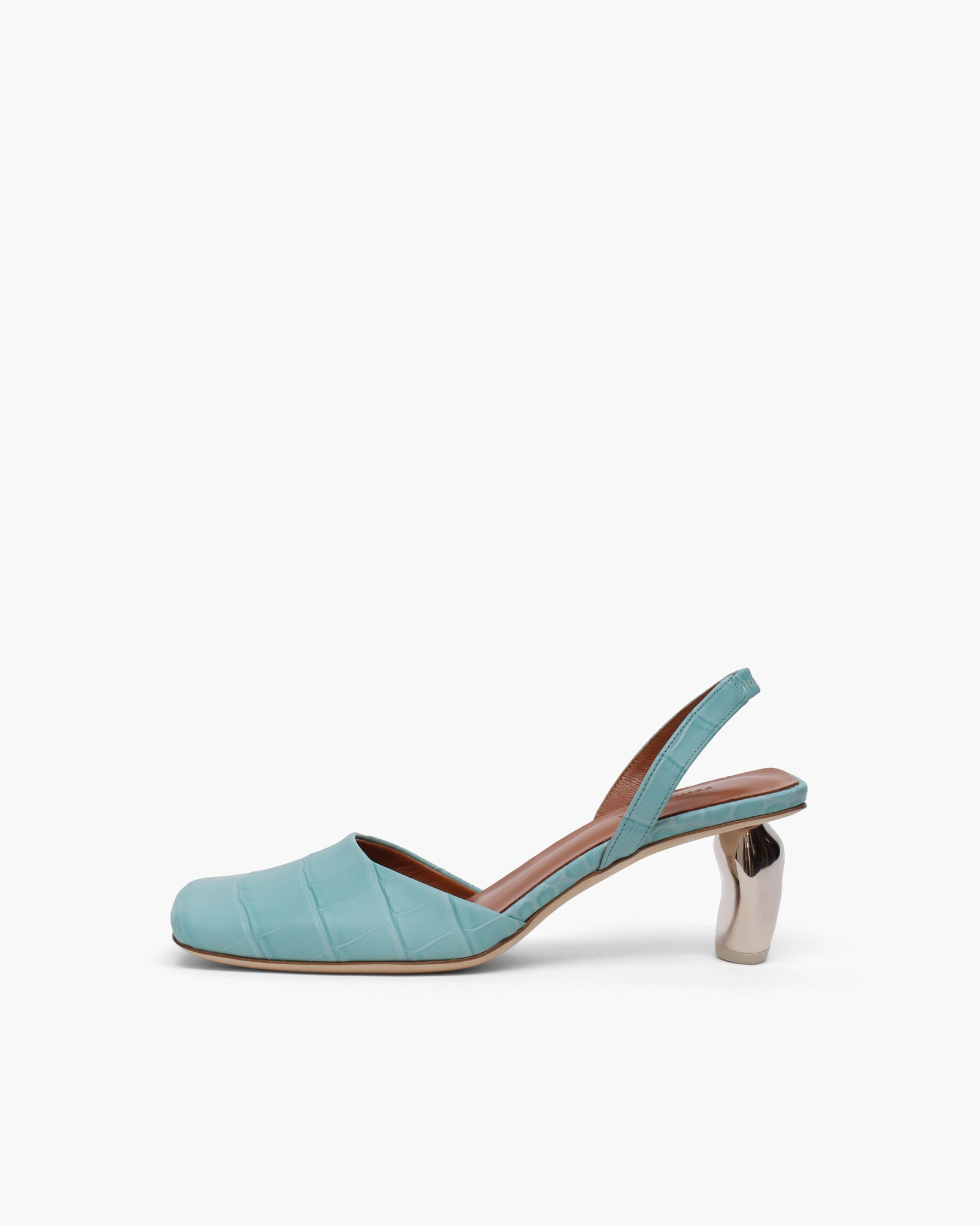 Luna Slingbacks Leather Croc Blue