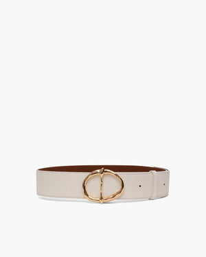 Carly Belt Leather Texture White