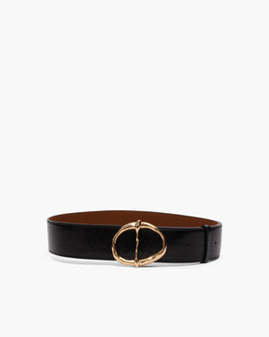 Carly Belt Leather Patent Crinkle Black