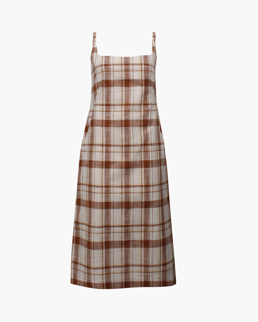 Emilia Dress Cotton Linen Blend Check Brown
