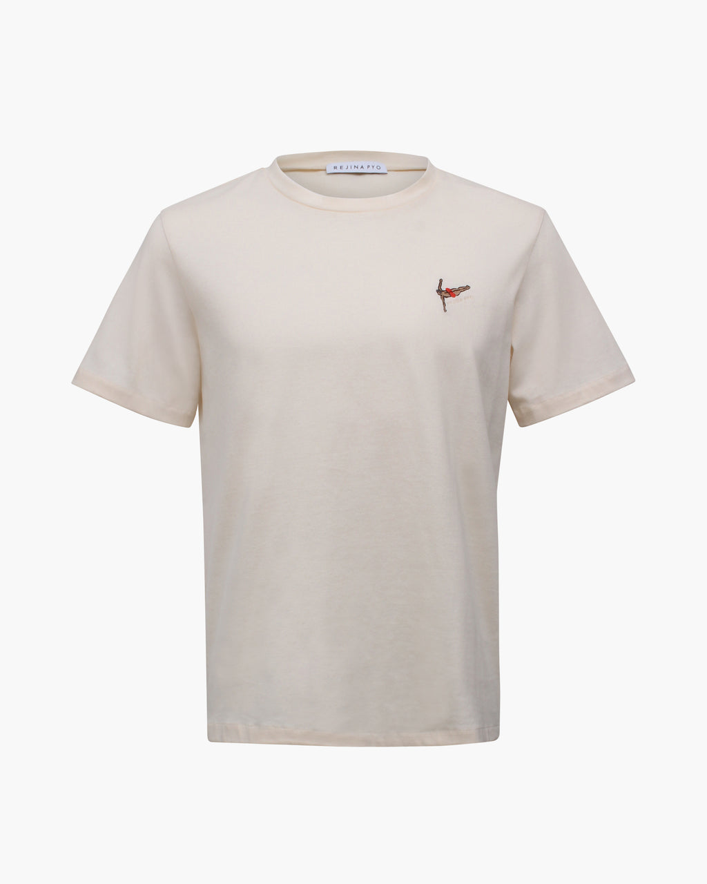 Rhys T-shirt Cotton Jersey Off-white Embroidery