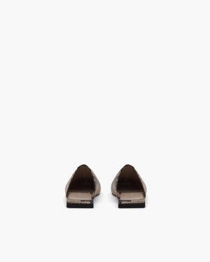 Leo Mules Leather Print Boa Beige