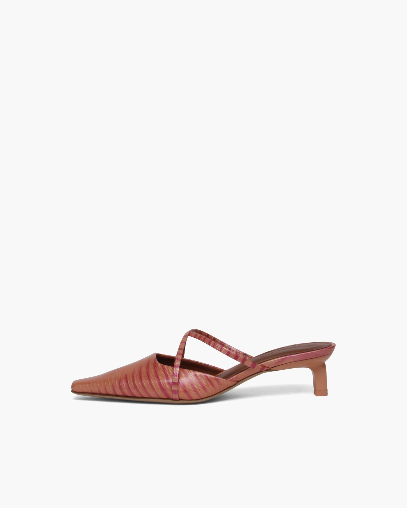Phoebe Mules Leather Print Coral