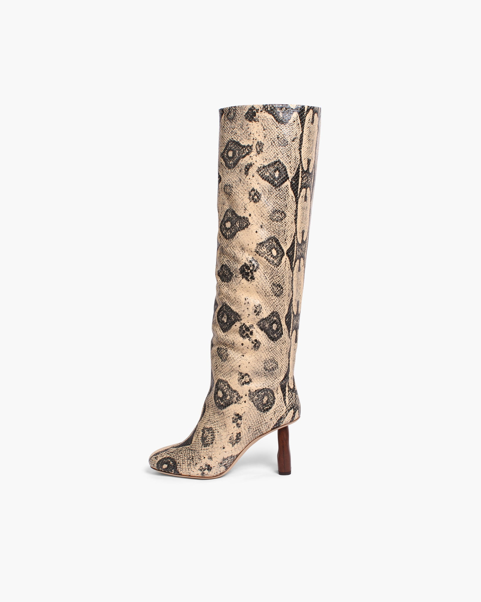 Allegra Boots Leather Print Boa Beige - WEBSHOP EXCLUSIVE