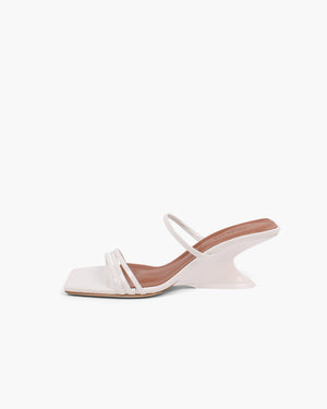 Romy Sandal 60mm Leather Crinkle White