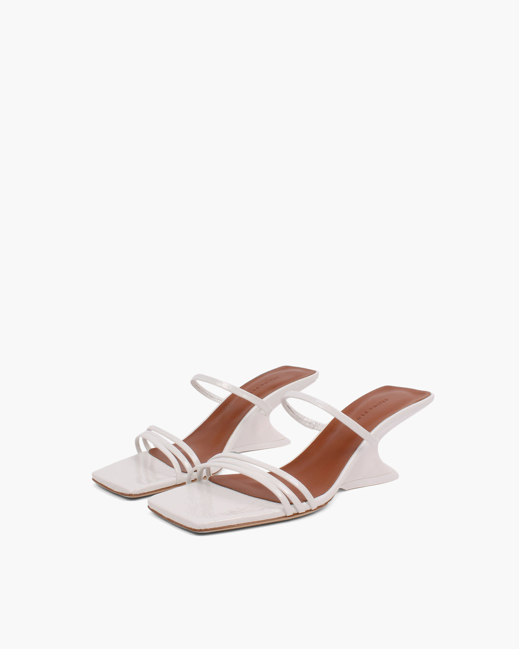 Romy Sandals Leather Crinkle White