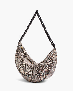 Banana Bag Leather Polka Snake Black/White