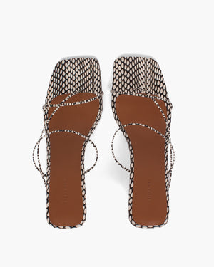 Wave Harley Sandals Leather Polka Snake Black/White