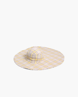 Daisy Hat Cotton Blend Check Yellow + Brown