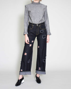 Mia Topstitching Straight Jeans Denim Black