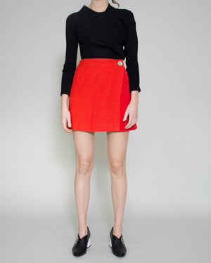 Hailey Wrap Skirt Crepe Red