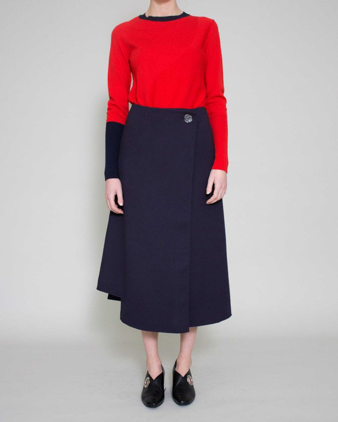 Marianna Long Wrap Skirt Navy